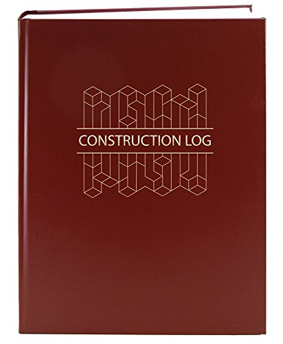 "BookFactory Construction Daily Activity Log Book / 365 Day Construction LogBook (384 Pages - 8 7/8"" x 11 1/4"") Burgundy Cover with Blocks, Smyth Sewn Hardbound (LOG-384-7CS-A(ConstructionBlocks))"