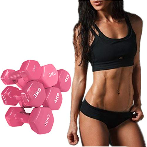 LATIBELL 2pcs one Pair Pink Dumbbells Home Gym Exercise Equipment Handles Arm Dumbbells Body Building Weight Exercise Ladies Family Fitness Dumbbell