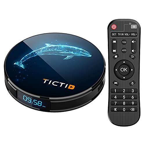 TICTID TV Box Android 10.0,Smart TV Box di Sistema RK3318 4GB 32GB  Quad Core  4k2k H.265   WiFi  DLNA   HDMI 2.0   AV   Dolby  4G