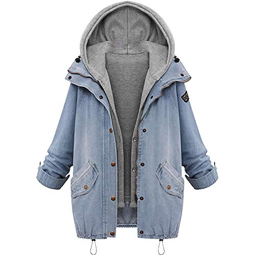 FRAUIT Damen Denim-Jacke Lange Jean Fleece Kurz Mantel Outwear Lange Trenchcoat Schlank Winterjacke Revers Steppmantel Slim Fit Mode Taschen Casual Langarm Fleecejacken Top Bluse (L, T-Blau)