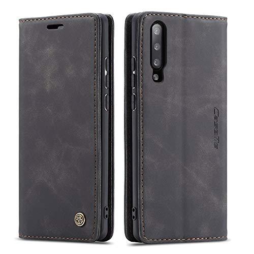 CRYSTAL FR- Carcasa para Samsung Galaxy A50, A30S, A50S, magnética, funda de poliuretano termoplástico tipo cartera de protección para Samsung Galaxy A50, A30S y A50S, color negro