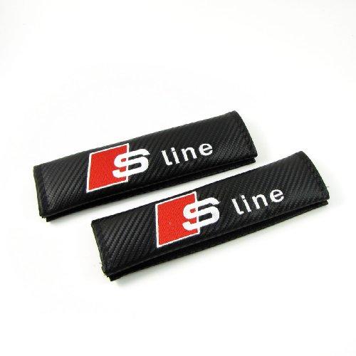 2 Stück Sport Kohlefaser Car Seatbelt Abdeckung Schulterpolster Pads Für SLine.