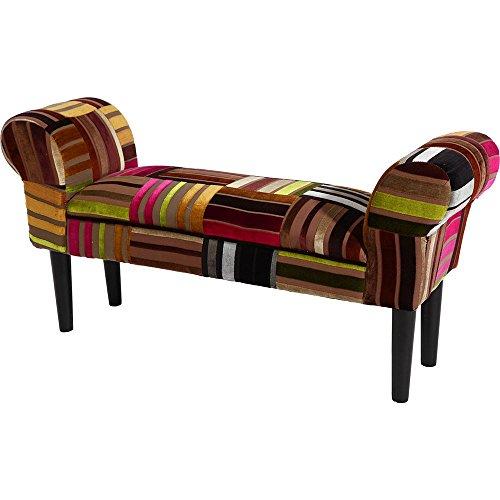 BHP Patchwork Sitz Bank Armlehnen Möbel ESS Schlaf Zimmer Stoff Hocker Couch Holzfüße Polster B412329