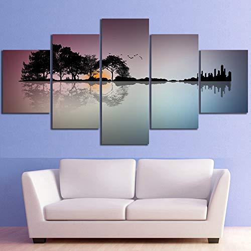 SDALD Murale Stampa su Tela 5 Pannelli 200x100CM Quadro Moderno Paesaggio a Forma di Chitarra Stampa su Tela Tessuto Non Tessuto 5 Pezzi HD Parete Immagini 5 Pannelli Moderni Canvas Painting Wall Art