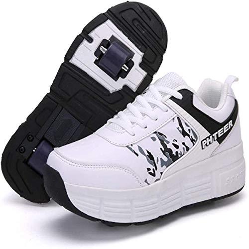HANHJ Zapatillas De Deporte Patinaje Al Aire Libre Gimnasia Niños Niñas Dos Ruedas Zapatos Casuales Ajustable Patineta Adultos Jóvenes,A-41 EU