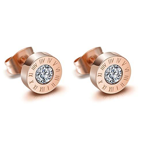 JewelryWe Schmuck Damen Herren Ohrstecker Edelstahl Römische Ziffern Glitzern Ohrringe Ohr-Piercings mit Zirkonia Rosegold