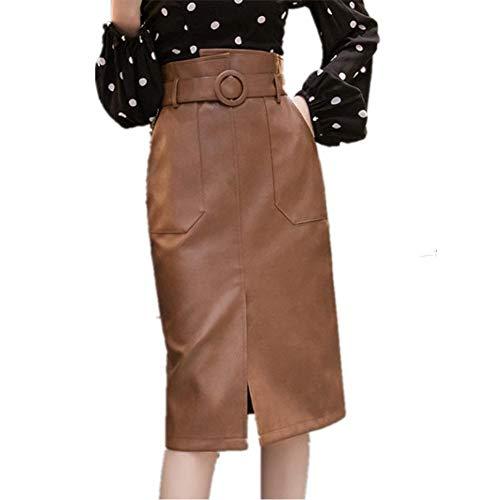 LJLLINGA Otoño Invierno Fajas Mujer Faldas Midi de Cuero PU Faldas Cruzadas de Cintura Alta hasta la Rodilla con Bolsillo