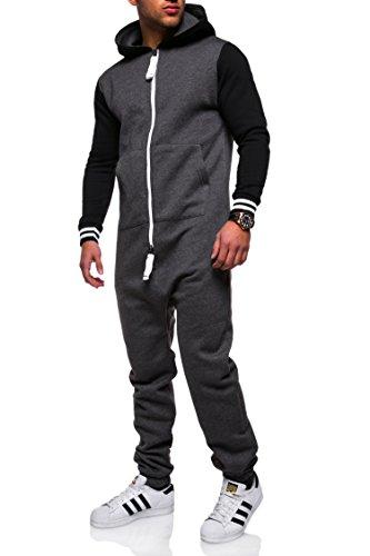MT Styles Jumpsuit College Overall Trainingsanzug Sportanzug Onesie JS-308 [Dunkelgrau, XXL]