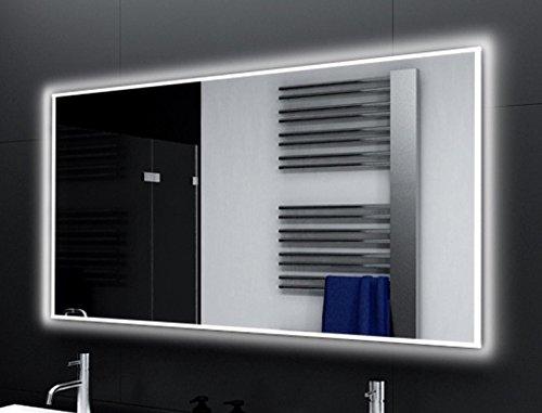 Badspiegel PONTIVY Glaswerk24 mit A++ LED Beleuchtung - (B) 160 cm x (H) 80 cm - Made in Germany - TIEFPREIS Technik 2019 Badezimmerspiegel Wandspiegel Lichtspiegel rundherum beleuchtet Bad Spiegel