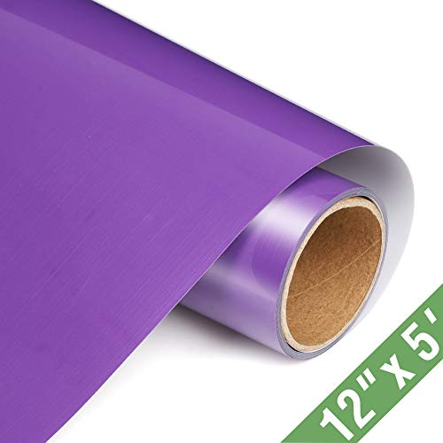 TransWonder Premium Heat Transfer Vinyl Rolls for Shirts 12in.x5ft, Iron on Vinyl for T-Shirt Clothing(Purple)