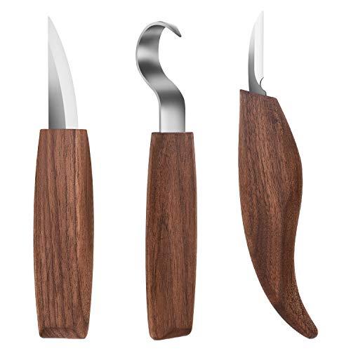 3pcs Coltello da Intaglio in Legno per Affilare e la Lavorazione del Legno, per Intagliare Cucchiai Ciotole Tazze e Altri Mestieri, per Principianti e Professionisti Scultori, Wood Carving Tools