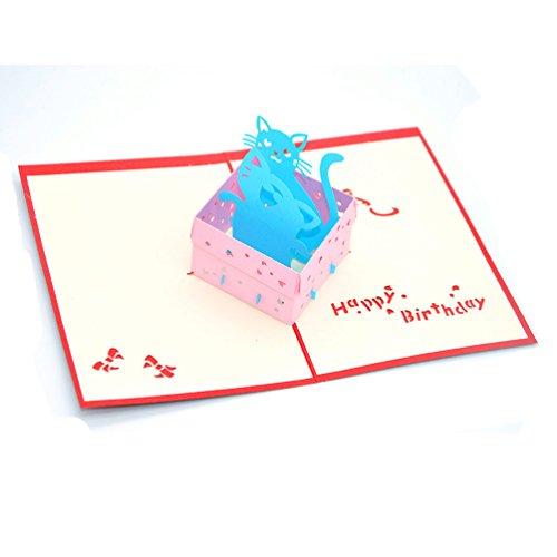 Medigy - Biglietto di auguri di compleanno con due gatti in scatola