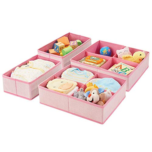 mDesign Soft Fabric Dresser Drawer and Closet Storage Organizer Set for Child/Kids Room, Nursery, Playroom - 4 Pieces, 10 Compartments - Herringbone Print with Solid Trim, Set of 2 - Pink