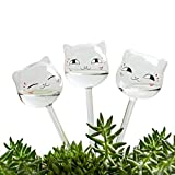 KiKiHeim Plant Waterer Cute Self Watering Globes, Hand Blown Clear Glass Plant Water Bulbs for Indoor, Automatic Plant Watering Devices, Gifts for Family and Friends, 3 Cats