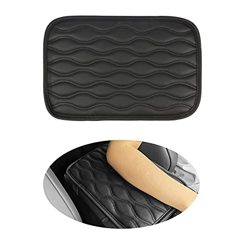 Amiss Auto Center Console Pad, Universal Waterproof Car Armrest Seat Box Cover, Leather Auto Armrest Cover Protector for Most Vehicle, SUV, Truck, Car (Black)