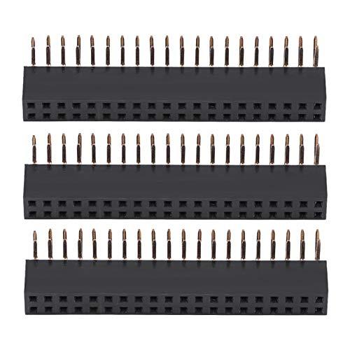 3 uds 2 x 20 pines 2,54 mm paso hembra de doble fila en ángulo recto encabezados de clavija PCB conector de encabezados de clavija para Raspberry Pi