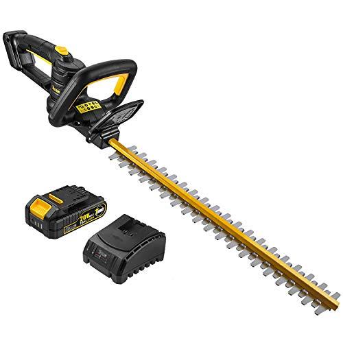 TECCPO Cortasetos, 18V 2.0Ah Tijeras Cortasetos de Batería de Litio, Longitud de Hoja 520 mm, Distancia Entre Hoja 18mm, Hoja de Láser de Doble Acción, Botón Triple de Inicio de Seguridad - TDHT02G