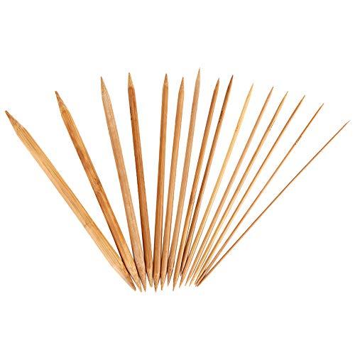 75Pcs Bambus Stricknadeln Set Doppelspitze Carbonized Stricknadeln für handgemachte kreative DIY 8 '' Länge 15 Größen (2,0 mm-10,0 mm)