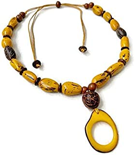 Tagua Necklace in Yellow TAG571, Vegetable Ivory Necklace, Organic Jewelry