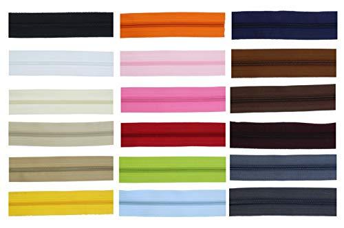 zipworld Endlos - Reißverschluss 3mm Kunststoff Spiral, versch. Längen und Farben (Weiss - 101, 2 Meter + 5 Zipper (separat) GP=m/2,49€)