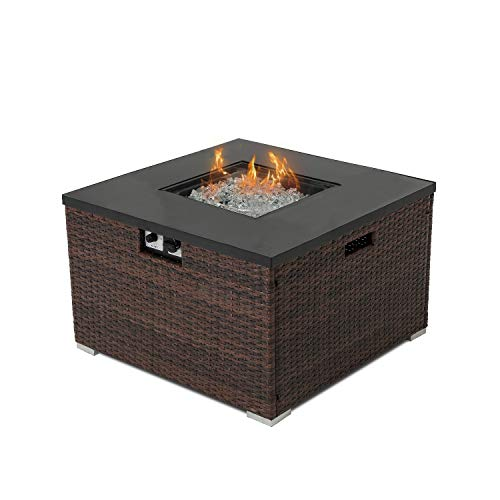 COSIEST Outdoor Propane Fire Pit 32-inch Square Espresso Brown Wicker Fire Table, 40,000 BTU Stainless Steel Burner,Fits 20 gal Tank Outside, Free Lava Rocks and Cover
