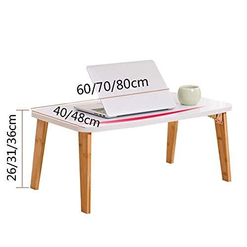 Mesa de ordenador portátil con patas plegables para desayunar, leer, ver películas en la cama/sofá/sofá (color: blanco, tamaño: 80 x 48 x 36 cm)