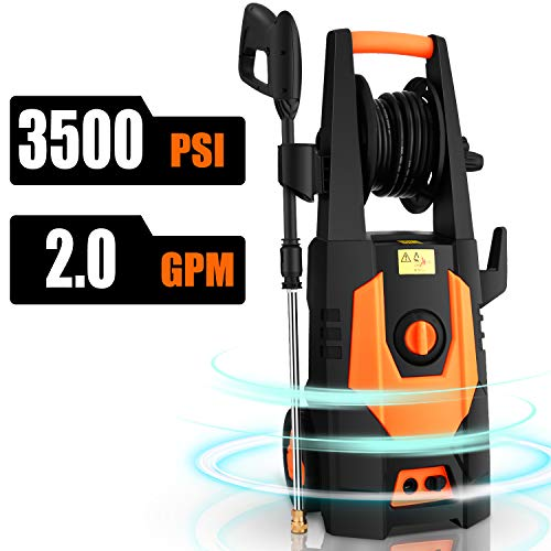CHAKOR 3500PSI Electric Pressure Washer 2.0GPM 1800W High Power Washer Machine Best for Cleaning Car/Floor/Wall/Furniture/Outdoor with 4 Adjustable Nozzle, Spray Gun, Hose Reel, Brush-Orange