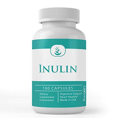 Inulin FOS (100 Capsules) 100% Pure & Natural from Jerusalem Artichoke, Non-GMO & Gluten-Free (1280 mg Servings)