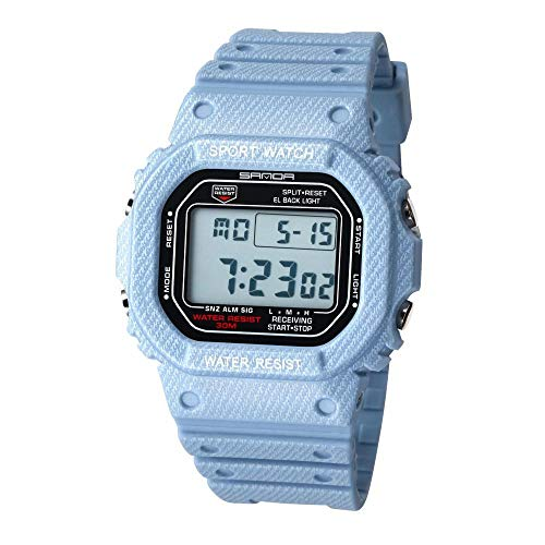 SANDA Relojes De Pulsera,Nuevo Reloj electrónico Impermeable para Hombres y Mujeres, Reloj Deportivo de Mezclilla Exquisito-Hombre Azul Claro