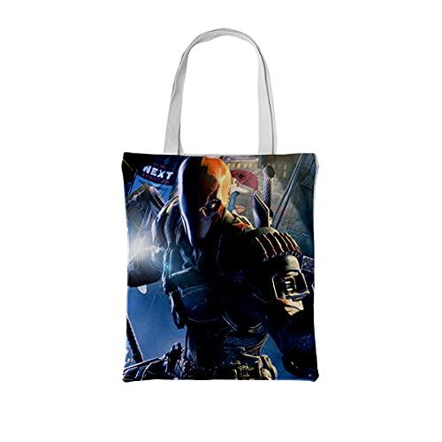 RomantiassLu Bolso de compras de lona Batman: Arkham Origins game character Bolsas de compras reutilizables Bolso de compras de algodón con un solo hombro, bolso de playa, bolsas de regalo