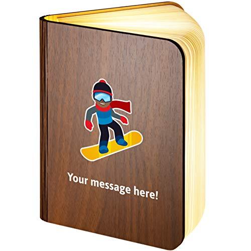 Große personalisierbare Holz-Lampe mit magnetischem Snowboarder-Emoji-Motiv