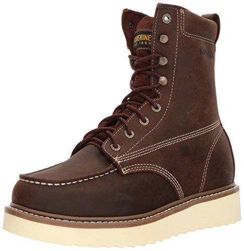 "WOLVERINE Men's Loader 8"" Soft Toe Wedge Work Boot, Brown, 9 M US"