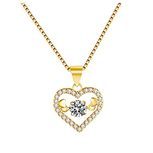 goodjinHH 01 Damen Halskette,Unendliche Liebe Halskette Temperament Schlüsselbein Kette,Diamant Halskette,Schmuck Gut für Frauen und Mädchen Allgleiches Schmuck (Gold)