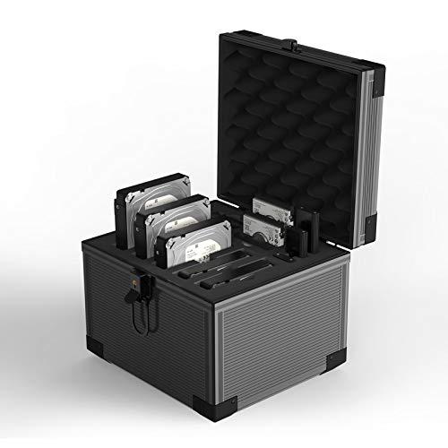 Yottamaster Caja de disco duro de aluminio para HDDs/SSD, funda de disco duro con espuma resistente a los golpes para discos duros de 5 x 3.5 pulgadas y discos duros de 6 x 2.5 pulgadas y 3 x M.2 ssds
