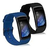 kwmobile 2X Pulsera Compatible con Samsung Gear Fit2 / Gear Fit 2 Pro - Brazalete de Silicona Azul Oscuro/Negro sin Fitness Tracker