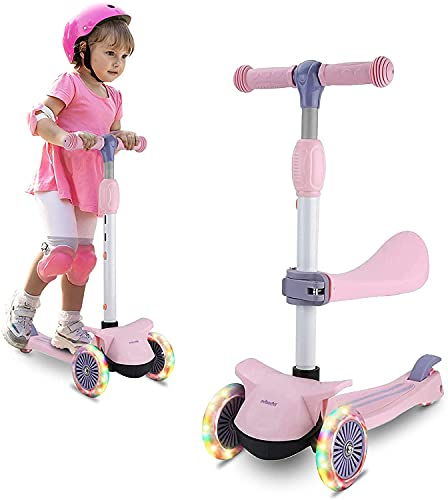 Wheelive 2 in 1 Kick Scooter for Kids, 3 Wheels Toddler Scooter with 3 Light Up Wheels Removable Seat 4 Adjustable Height Scooters for Boys & Girls 2-6 Years Old
