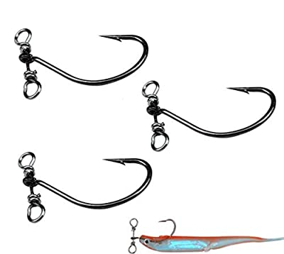 Milepetus 30pcs/Box Drop Shot Fishing Hooks with Drop Shot Rig and Swivel in-line Drop Shot Rig Fishing Hooks for Bass,Perch