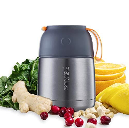 """720°DGREE Thermobehälter """"wunderJar"""" für Essen, Babynahrung - 450ml, 650ml - Auslaufsicher, BPA-Frei - Edelstahl Warmhaltebehälter Lunchbox für unterwegs - Thermobecher für Warme Speisen, Suppe to Go"""