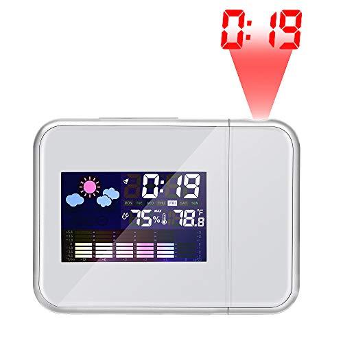 TopHGC Projektionswecker, Digitale Multifunktionsanzeige für Temperatur und Luftfeuchtigkeit Wecker Desktop-Uhren Farbbildschirmkalender