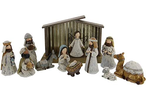 Burton and Burton- A King is Born, 12 piece Resin Holiday Scene Nativity Set with Wood and Metal Creche- Rustic