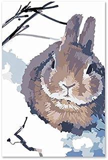 Superlucky DIY Digitale malerei Kaninchen grau Kaninchen Schnee Plum blühen abstrakt Cartoon dekorative gemälde spezielle kreative Geschenk 40x50cm mit Rahmen B07K5JC4X5  Internationaler großer Name