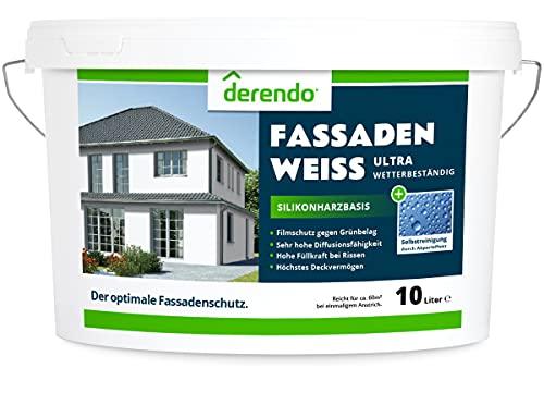 Derendo Silikonharz Fassadenfarbe weiß mit ULTRA Wetterschutz, 10l, Selbstreinigungeffekt durch Abperleffekt wie beim Lotus Blatt , Inkl. Filmschutz gegen Grünbelag, weiss matt