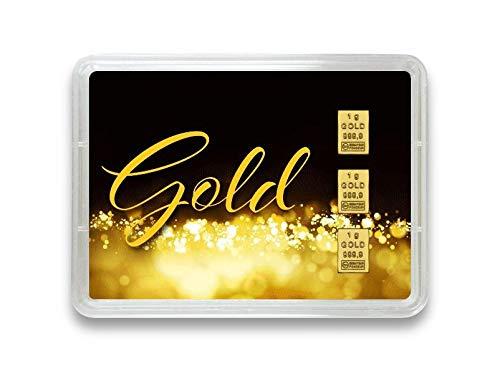 """Goldbarren 3g – Geschenk Motivbox """"Gold statt Geld"""" – Valcambi ESG - Feingold 999,9 (3g Gold)"""