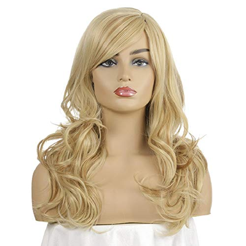 Women's Long Curly Dress Wigs Blonde Brazilian Hair Water Wave Glueless for Black Women Cosplay Costume Ladies Wig Party Free Wig Cap