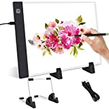 YHESEN A4 LED Tablero de dibujo con brillo ajustable, con soporte ajustable, fuente de alimentación USB portátil, adecuado para artistas, dibujo, copia, boceto, pintura digital, pintura de diamante 5d