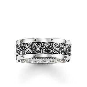 THOMAS SABO Unisex Ring TR2006-051-11 Ring 925er Sterlingsilber, Geschwärzt Zirkonia Pavé Schwarz Silberfarben, Schwarz