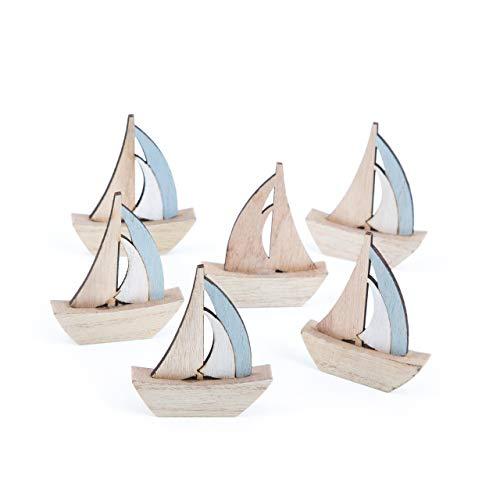 Logbuch-Verlag 8 große Segelboote Schiffe Natur blau 12 cm - Maritime Deko zum Hinstellen Mitgebsel Give-Away Tischdeko Taufe Kommunion Kindergeburtstag