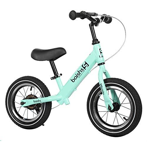Hs&sure Bicicleta de Equilibrio sin Pedal para niños pequeños Durante 2 a 6 años, Bicicleta para niños con Freno, Barra y Asiento Ajustable, Soporte 30kg / 66lb (Color : Green)