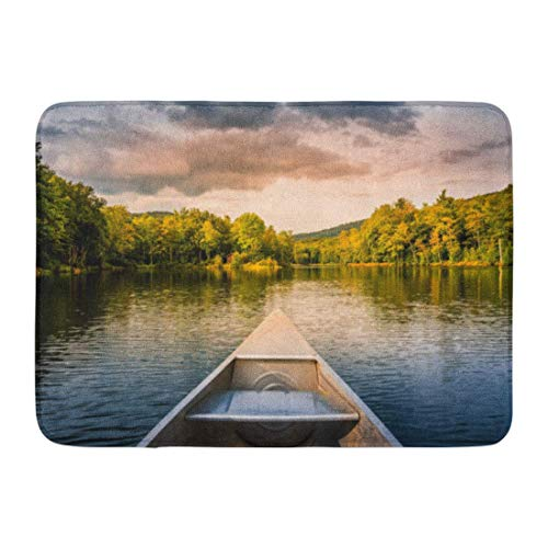 NCH UWDF Doormats Bath Rugs Door Mat Aluminum Canoe on Mountain Lake Upstate New York Camping Outdoors and Adventure Faded Vintage Color Post 15.8'x23.6'
