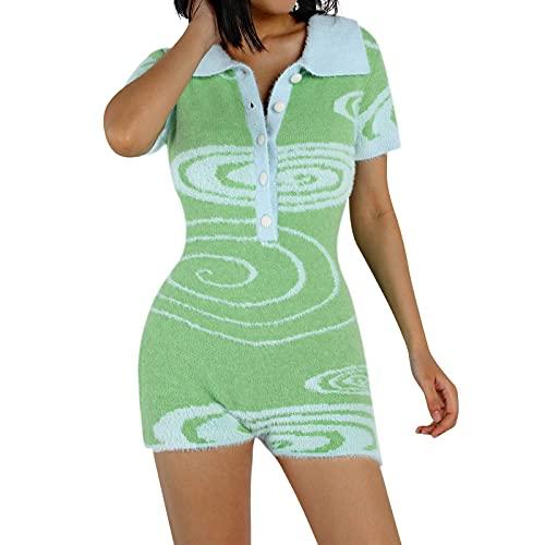 Alaurbeauty Y2K - Mono sexy de punto para mujer, cuello vuelto, manga corta, botón, body con tie-dye A-verde 2 XL